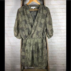 Amanda Uprichard Silk Snake Print Faux Wrap Dress